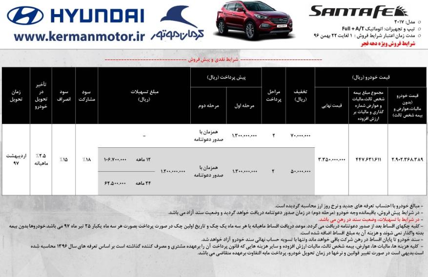 شرایط فروش هیوندای سانتافه 2017 - بهمن 97